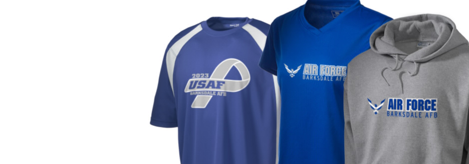 barksdale afb men Named for barksdale air force base, this cotton-poly tee proudly displays the stars and bars of the american flag, accompanied by srvs's live loyal logo.
