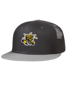 b998699483488 Embroidered Cotton Twill Flat Bill Trucker Style Snapback Cap