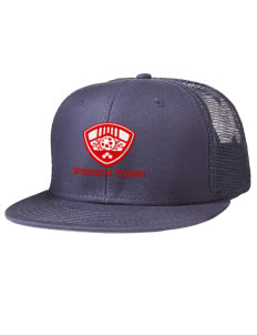 Embroidered Cotton Twill Flat Bill Trucker Style Snapback Cap 73f8692dc14