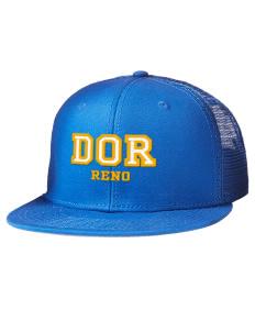 db41d481bfc Embroidered Cotton Twill Flat Bill Trucker Style Snapback Cap
