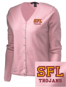 Sandhills Farm Life Elementary School Trojans Embroidered Women's Stretch Cardigan Sweater