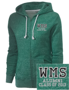 Woodward Middle School Wildcat Embroidered Women's Marled Full-Zip Hooded Sweatshirt