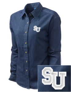 Seattle U High School Seattle U Embroidered Women's Long-Sleeve Denim Shirt