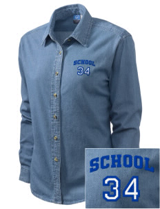 South Egremont School Embroidered Women's Long-Sleeve Denim Shirt
