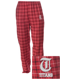 Union High School Titans Embroidered Men's Button-Fly Collegiate Flannel Pant