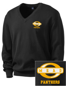 mead senior high school panthers Embroidered Men's V-Neck Sweater