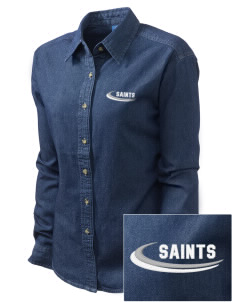 Charles B Sinclair Middle School Saints Embroidered Women's Long-Sleeve Denim Shirt