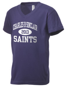 Charles B Sinclair Middle School Saints Kid's V-Neck Jersey T-Shirt