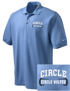 Circle School Circle Wolves Embroidered Nike Men's Pique Knit Golf Polo