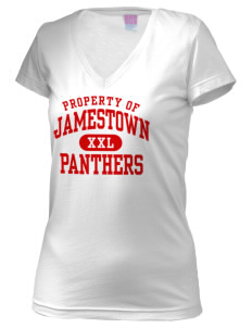 Jamestown Elementary School Panthers Juniors' Fine Jersey V-Neck Longer Length T-shirt