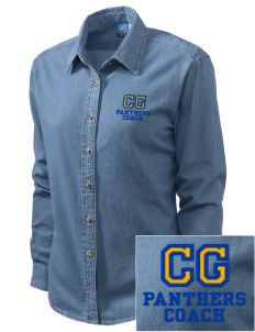Cathedral Grade School Panthers Embroidered Women's Long-Sleeve Denim Shirt