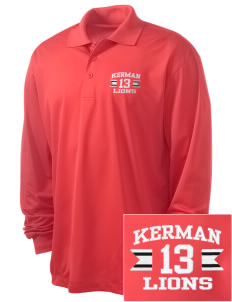 Kerman High School Lions Embroidered Men's Long Sleeve Micropique Sport-Wick Sport Shirt
