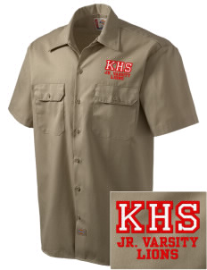 Kerman High School Lions Embroidered Dickies Men's Short-Sleeve Workshirt