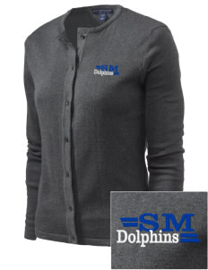 Saint Mary Elementary School Dolphins Embroidered Women's Cardigan Sweater