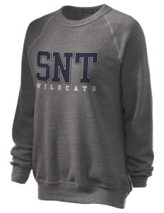St. Nicholas of Tolentine High School Wildcats Unisex Alternative Eco-Fleece Raglan Sweatshirt with Distressed Applique