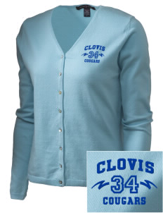 Clovis High School Cougars Embroidered Women's Stretch Cardigan Sweater