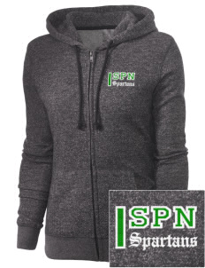 Saint Philip Neri School Spartans Embroidered Women's Marled Full-Zip Hooded Sweatshirt