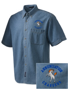 Annunciation Elementary School Chargers  Embroidered Men's Denim Short Sleeve