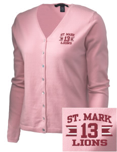 St. Mark School Lions Embroidered Women's Stretch Cardigan Sweater