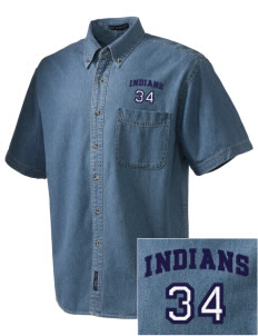 Our Lady Of Perpetual Help School Indians  Embroidered Men's Denim Short Sleeve