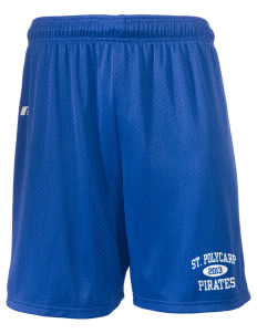 "Saint Polycarp Elementary School Pirates  Russell Men's Mesh Shorts, 7"" Inseam"