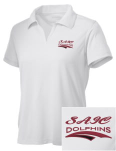 Saint Anthony Immaculate Conception Dolphins Embroidered Women's Double Mesh Polo