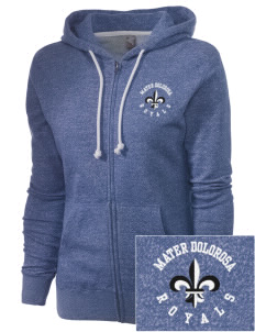 Mater Dolorosa Elementary School Royals Embroidered Women's Marled Full-Zip Hooded Sweatshirt