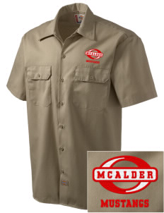 McAlder Elementary School Mustangs Embroidered Dickies Men's Short-Sleeve Workshirt