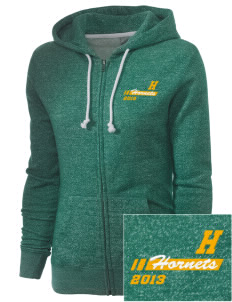 Harney Elementary School Hornets Embroidered Women's Marled Full-Zip Hooded Sweatshirt
