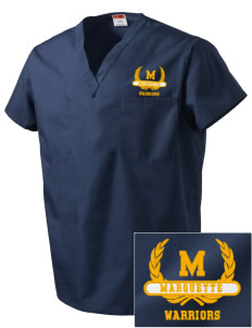 Marquette High School Warriors Embroidered V-Neck Scrub Top
