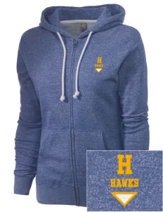 Hamilton Middle School Hawks Embroidered Women's Marled Full-Zip Hooded Sweatshirt