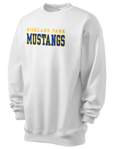 Highland Park Elementary School Mustangs Men's 7.8 oz Lightweight Crewneck Sweatshirt