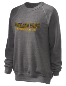 Highland Park Elementary School Mustangs Unisex Alternative Eco-Fleece Raglan Sweatshirt with Distressed Applique