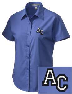 Altamonte Christian School Eagles Embroidered Women's Short Sleeve Easy Care, Soil Resistant Shirt