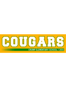 "Crump Elementary School Cougars Bumper Sticker 11"" x 3"""