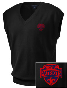 Christian Senior High School Patriots Embroidered Men's Fine-Gauge V-Neck Sweater Vest