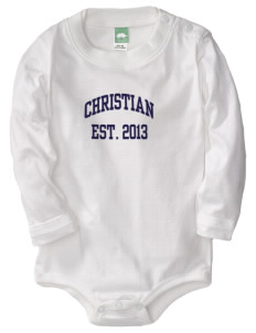 Christian Senior High School Patriots  Baby Long Sleeve 1-Piece with Shoulder Snaps