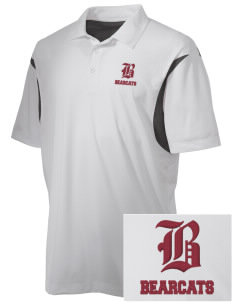Hawley Middle School Bearcats Embroidered Men's Back Blocked Micro Pique Polo