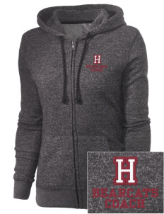 Hawley Middle School Bearcats Embroidered Women's Marled Full-Zip Hooded Sweatshirt