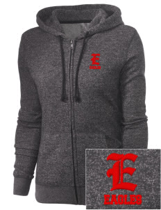 The Carey School Eagles Embroidered Women's Marled Full-Zip Hooded Sweatshirt