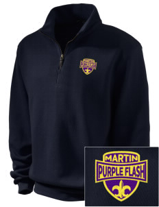 Martin High School Purple Flash Embroidered Men's 1/4-Zip Sweatshirt