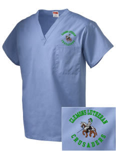 Clemons Lutheran School Crusaders Embroidered V-Neck Scrub Top