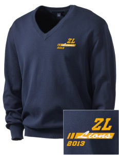 Zion Lutheran School Lions Embroidered Men's V-Neck Sweater