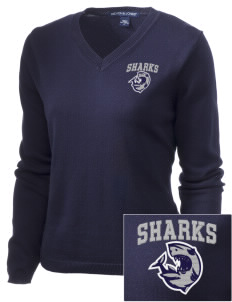Puget Sound Adventist Academy Sharks Embroidered Women's V-Neck Sweater