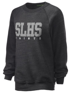 Seattle Lutheran High School Saints Unisex Alternative Eco-Fleece Raglan Sweatshirt with Distressed Applique