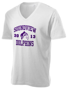 Soundview Private School Dolphins Alternative Men's 3.7 oz Basic V-Neck T-Shirt