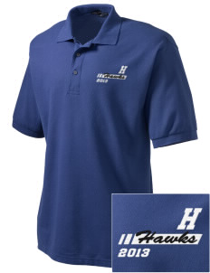 Hollywood Elementary School Hawks Embroidered Tall Men's Silk Touch Polo