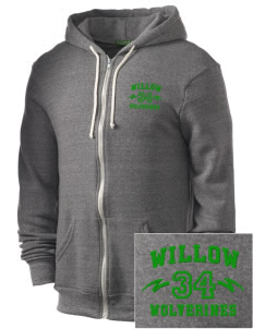 Willow Elementary School Wolverines Embroidered Alternative Men's Rocky Zip Hooded Sweatshirt