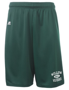 "Willow Elementary School Wolverines  Russell Deluxe Mesh Shorts, 10"" Inseam"
