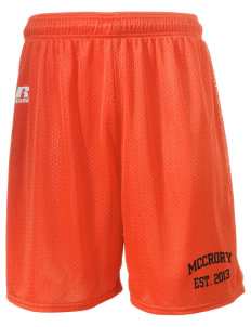 "McCrory High School Jaguars  Russell Men's Mesh Shorts, 7"" Inseam"